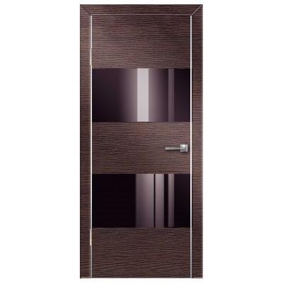 Двери Техно-5 ПВХ полотно остекленное, с алюминиевой кромкой