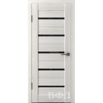 Дверь Л1ПГ5 Ультра черное стекло.Беленый дуб.Владимирская фабрика дверей.